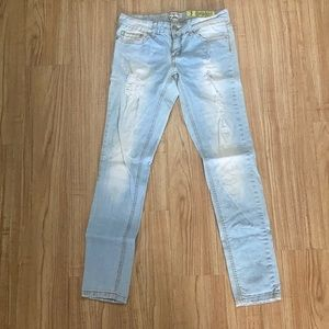 Distressed Light Washed Skinny Jeans